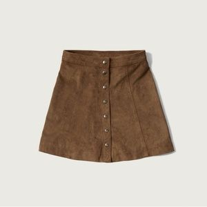 Abercrombie & Fitch Faux Suede Button-Front Skirt